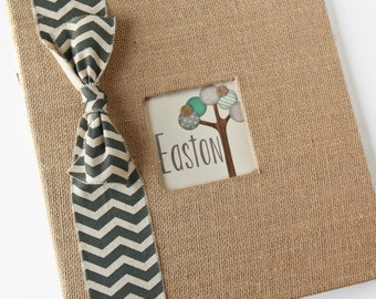"Baby Boy Burlap Scrapbook, Chevron Ribbon, ""Friendly Forest"""