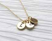 Tiny Necklace Tiny Disc Necklace Gift for Mom Bridesmaids Hand Stamped Initials Gold Charm Personalized Necklace