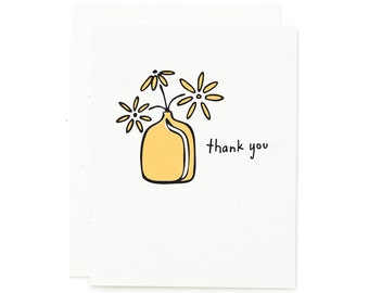 Retro Thank You Card / Screen Printed Card / Hand Pulled Print / Hand Lettering / Floral Card / Retro Vase / Simple Thank You Card