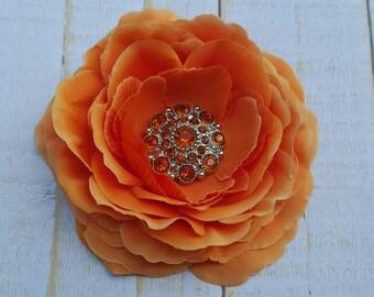 "Orange Hair Clip Orange Hair Flower 3.5"" Ranunculus Rhinestone Flower Clip Wedding Bridesmaid Flower Girl Halloween School Uniform Hair Clip"