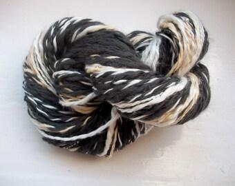 Unique handspun vegan art yarn, soft, fun, soy silk grey, beige, ivory by SpinningStreak
