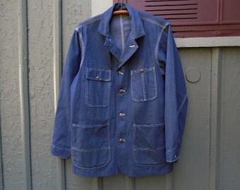 Vintage denim barn chore coat jacket POWR HOUSE Union Made, DEADSTOCK raw denim - Mongomery Ward workwear