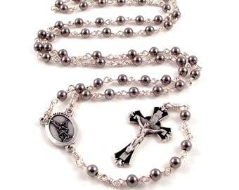 Unbreakable Rosary Beads St Michael Stainless Steel w Italian Medals by Unbreakable Rosaries