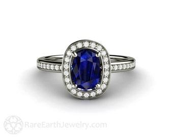 Blue Sapphire Engagement Ring Diamond Halo Sapphire Ring Custom Wedding Jewelry 14K 18K Gold or Platinum