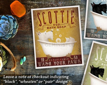 Scottish Terrier scottie dog bath soap Company vintage style artwork by Stephen Fowler Giclee Signed Print