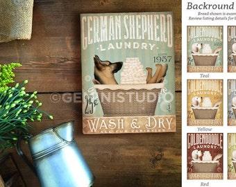 German Shepherd dog Laundry Company basket illustration graphic art on canvas by stephen fowler