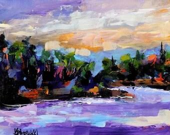 "Abstract landscape - beach scene - 6x6"" acrylic"