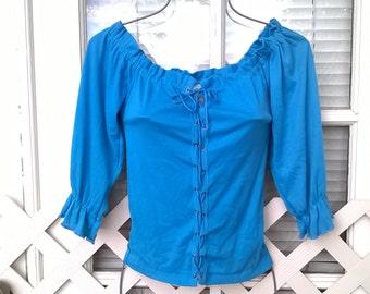 Vintage 70s Knit Top, Deadstock with Tags, Mister Noah brand Lace Up Peasant Blouse, Turquoise, sz XS bust 32, SEXY