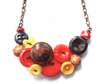 Christmas in July Sale Rustic Vintage Button Necklace in Red, Brown, and Yellow Gold