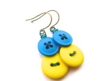 ON SALE Yellow and Blue and Vintage Button Earrings