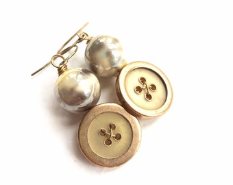 Yellow, Gold, Pearly Vintage Button Earrings