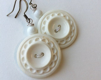 White on White Earrings with gunmetal wires - Vintage Button Jewelry