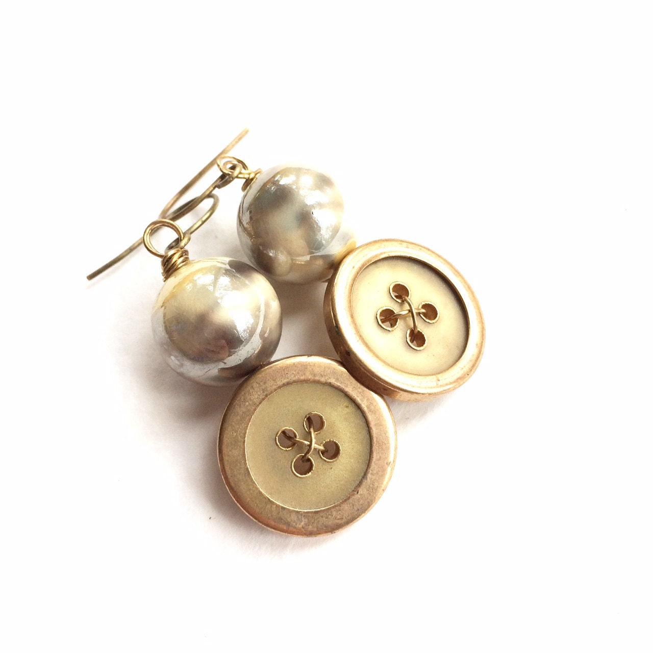 Button Earrings: Yellow Gold Pearly Vintage Button Earrings