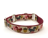 "1"" Squirrels are Nuts ~ Gray buckle or martingale dog collar"