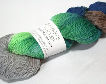 Hand Dyed Artisan Yarn, Hand Painted Heavy Lace Yarn, Multicolor SW Merino Yarn, Long Stride (750yds) - Downward Peacock (dyelot 42216)