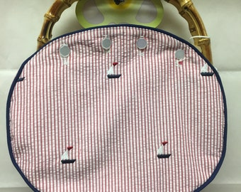 BERMUDA BAG Ladies All HANDMADE with Embroidered Seersucker Sailboats Choose From a Light Bamboo handle, Dark Bamboo handle or Wooden Handle