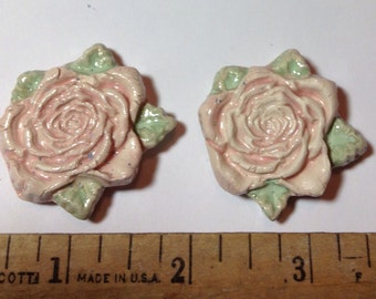 On Sale **Free ship - Mosaic Tiles - *Shabby Pink Roses* -2 Handmade Kiln Fired  Ceramic tiles, altered art, craft supplies