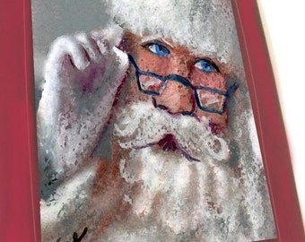 greeting card christmas santa claus curly mustache