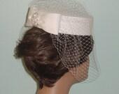 Matte Satin  Pillbox Wedding Hat - Made to Order