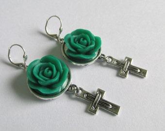Cross Charm & Flower Cabochon Earrings - Deep Teal/Emerald