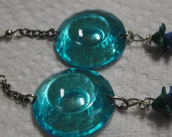 Fun Aqua Flower Dangle Pierced Earrings