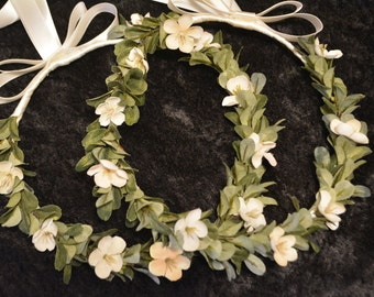 Greek Stefana, Greek Wedding Crowns, Ivory Flower Stefana, Orthodox Wedding Crowns, Grecian Crowns, Green Leaf Stefana, Rustic Stefana