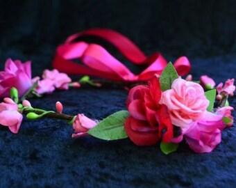 Pink Flower Crown, Flower Girl Crown, Boho Flower Crown, Flower Girl Headband, Flower Hair Wreath, Photo Prop, Fairy Crown, Rustic Crown