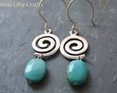 Silver Turquoise Earrings, Turquoise Drop Earrings,  Silver Swirl Earrings, 925 Silver Blue Dangle Earrings, Turquoise Jewelry