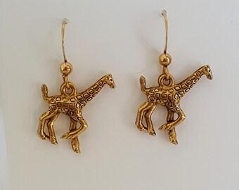 Giraffe Earrings - Gold Plated Pewter