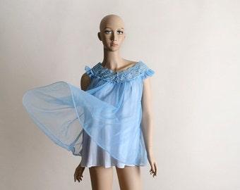 ON SALE Vintage Chiffon Nightie - Babydoll Blue Sheer Mini Nightgown Negliee