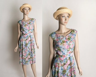 ON SALE Vintage 1960s Dress - Sheer Floral Pastel Garden Bouquet Wiggle Dress - Small