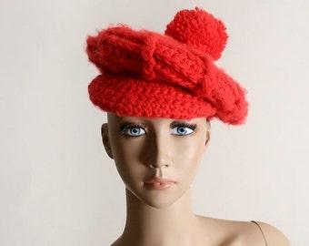 ON SALE Vintage Knit Tam Hat - Bright Cherry Red Crochet Pom Pom Beret Hat