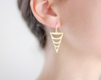 Tribal Crescent Cutout Triangle Earrings - Gold or Silver