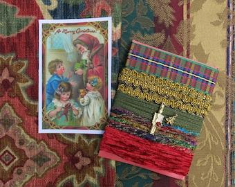 Christmas Collage Inspiration Kit, Red, Green & Blue  ... Vintage Santa Fabric Image, Ciggie... Material, fiber, trim, ribbon, embellishment