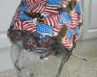 Tie Back Surgical Scrub Hat with American Flags Eagles