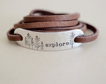 Explore Bracelet - Hand stamped Aluminum leather Wrap Bracelet - Wilderness - Nature Jewelry
