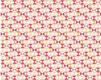 Vintage Daydream fabric, Cotton fabric by the Yard, Mustard, Pink fabric, Riley Blake Designs, Vintage Geometric in Pink, Choose your cut