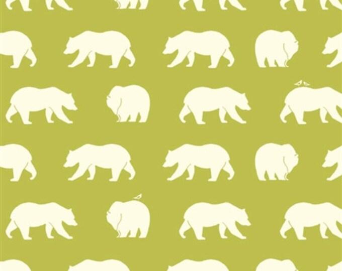 ORGANIC fabric, Bear Camp by Birch Fabrics- Bear Camp in Lime, Green fabric, Bear fabric, Animal fabric, Nursery, Choose your cut