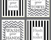 kids bathroom wall art mongram art letter artwork bathroom manners art flush the toilet wash your hands