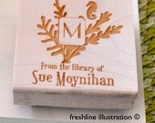 Bookplate Stamp, Personalized Stamp, Rubber Stamp, Library Stamp