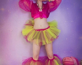 ON SALE Adult tutu skirt Mini micro Peek a boo style dance roller derby gogo Neon fuchsia EDC runner - Ready to Ship -Small - Sisters of the
