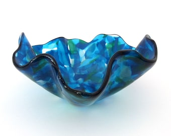 Mixed Cool Blues and Green Wavy Fused Glass Bowl Serving Dish Warm Glass Art