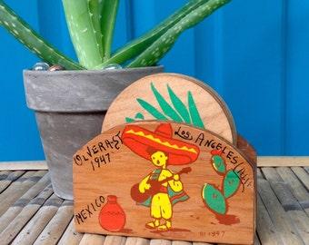 FREE SHIPPING-Vintage 1947 Souvenir Handpainted Wooden Coasters and Carrier-Mexico-Los Angeles California-Cactus-Sombrero-Boho-Coaster Set