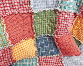 Homespun Rag Quilt - Colorful Homespun Lap Quilt - Plaid - Blue Green Yellow Red - Extra Large Lap Quilt