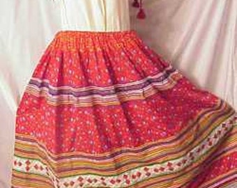 Seminole Native American Skirt XL 1950s Quilted ric rac