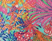 "lilly pulitzer's multi fishing for compliments beach twill cotton fabric square 18""x18"""