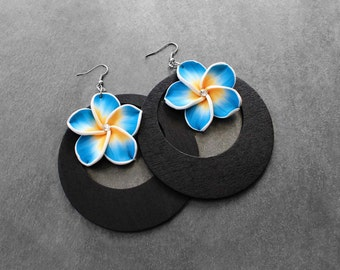 Flower Earrings, Wood Hoop Earrings, Island Earrings, Big Hoop Earrings, Blue, Floral, Island Girl Blue Flower Wood Hoop Earrings