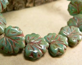 Turquoise Emerald Green Czech Glass Maple Leaf Beads Red Picasso 10x13mm (10)