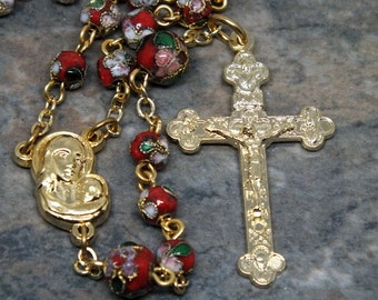 Cloisonne Red Rosary with Gold Tone Metals, 5 Decade Rosary