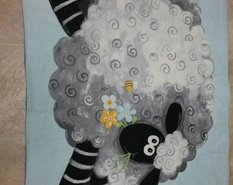 Infant quilt with large sheep